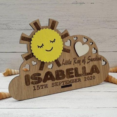 Personalised New Baby Keepsake Cloud Gift with Sunshine Oak Wooden Decor